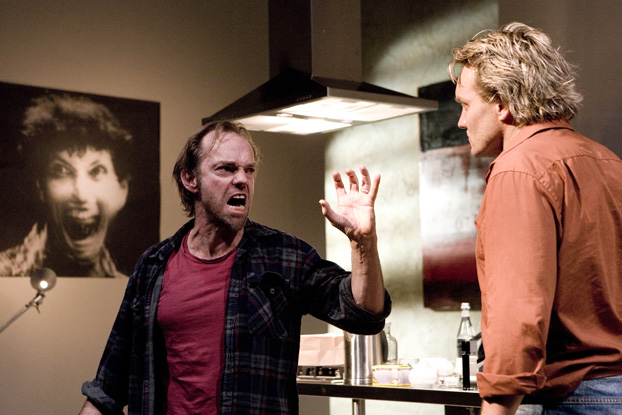 Hugo Weaving and Jeremy Simms in STC's Riflemind, 2007.  Photo: Brett Boardman ©