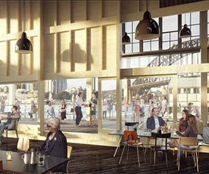 Artist's impression of the new Bar at The End of The Wharf and balcony,© Doug & Wolf