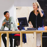 Kenneth Moraleda and Valerie Bader in rehearsals for Talk