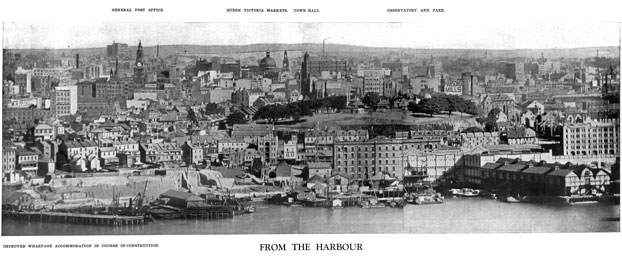 Panoramic view of the City from the harbour, with Walsh Bay in foreground 1910. Photo: City of Sydney Archives