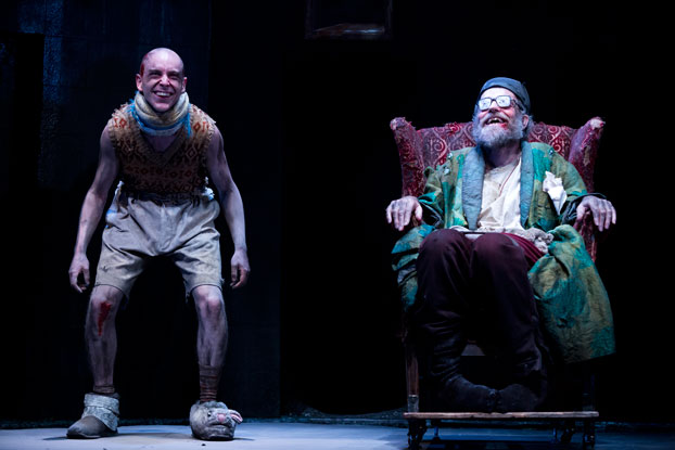 Tom Budge and Hugo Weaving in STC's Endgame. Photo by Lisa Tomasetti.