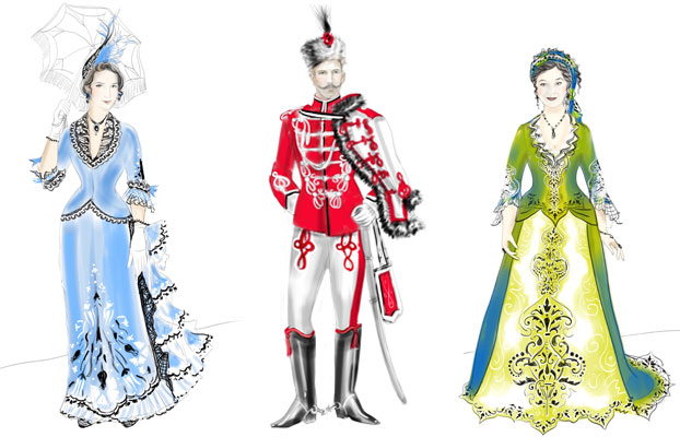 Costume designs by Julie Lynch for STC's Arms and the Man. © Julie Lynch