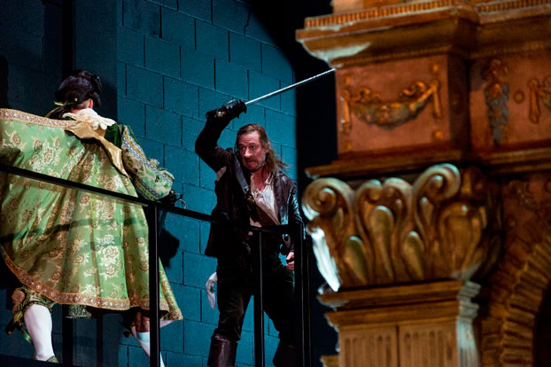 Richard Roxburgh and Dale March in STC's Cyrano de Bergerac. Photo: Brett Boardman.