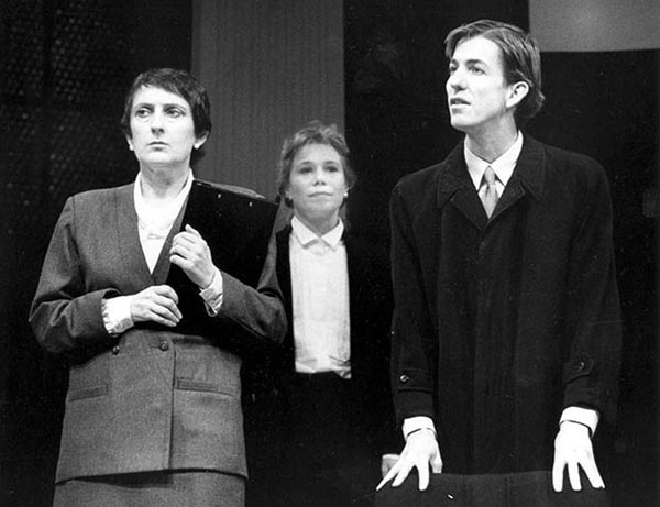 Kerry Walker, Jane Menelaus and Robert Menzies in STC's Serious Money, 1988.  Photo:  Stephen Gower