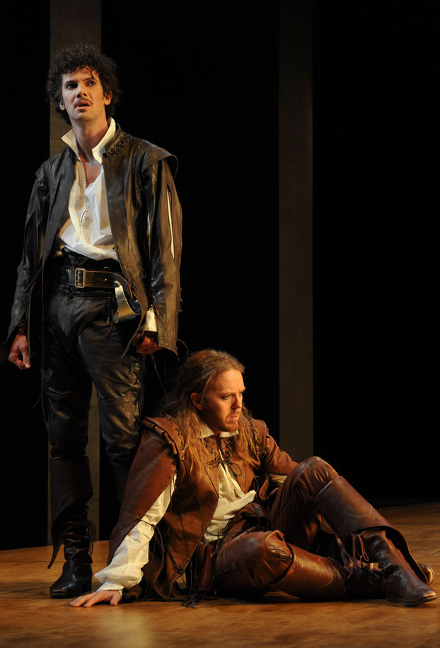 Toby Schmitz and Tim Minchin in STC's Rosencrantz and Guildenstern are Dead. Photo by Heidrun Löhr