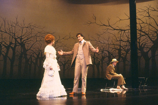 Jane Harders, John Howard and Simon Chilvers in STC's The Cherry Orchard, 1983. Photo:  Dennis del Favero ©