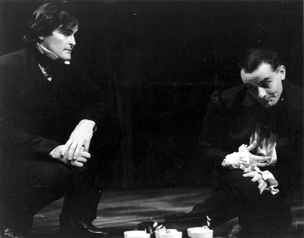 John Howard and Tony Taylor in STC's The Life and Adventures of Nicholas Nickleby, pts 1, 2, 1983, presented by  STC and The Australian Opera, in association with MLC Theatre Royal Company.  Photo: Branco Gaica ©