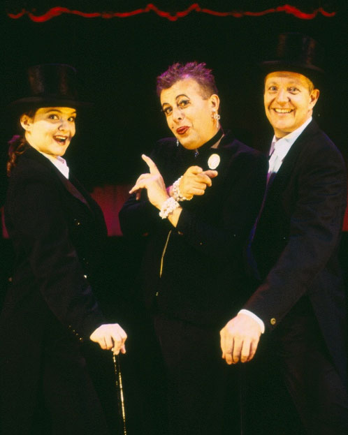 Michelle Doake, Garry Scale and Jonathan Biggins in STC's Concert for Tax Relief (The Wharf Revue), 2005.  Photo: Tracey Schramm ©