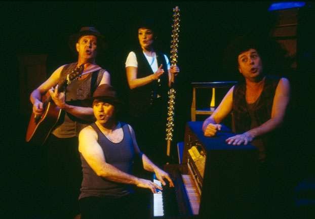Jonathan Biggins, Phillip Scott, Michelle Doake and Garry Scale in STC's Concert for Tax Relief (The Wharf Revue), 2005.  Photo: Tracey Schramm ©