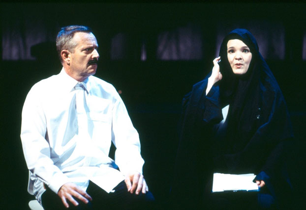 Jonathan Biggins and Michelle Doake in STC's Concert for Tax Relief (The Wharf Revue), 2005.  Photo: Tracey Schramm ©
