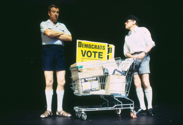 Jonathan Biggins and Drew Forsythe in STC's Fast and Loose! (The Wharf Revue), 2004. Photo: Tracey Schramm ©