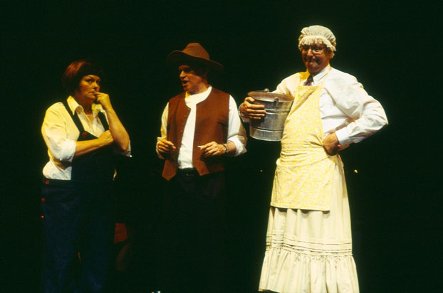 Genevieve Lemon, Drew Forsythe and Jonathan Biggins in STC's Fast and Loose! (The Wharf Revue), 2004. Photo: Tracey Schramm ©