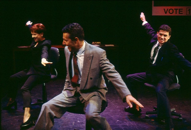 Valerie Bader, Jonathan Biggins and Drew Forsythe in STC's Free Petrol! (The Wharf Revue), 2001.  Photo: Tracey Schramm ©