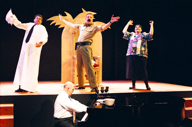 Drew Forsythe, Phillip Scott, Jonathan Biggins and Linda Nagle in STC's Much Revue About Nothing (The Wharf Revue), 2002. Photo: Phil Sheather ©