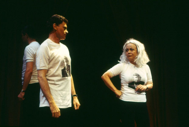 Drew Forsythe and Jacki Weaver in STC's The Official Visitors' Guide to Australia (The Wharf Revue), 2000.  Photo:  Melissa Latham, for Tracey Schramm Photography ©