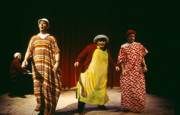 Phillip Scott, Jonathan Biggins, Linda Nagle and Drew Forsythe in STC's The End of The Wharf as We Know It (The Wharf Revue), 2000.  Photo: Tracey Schramm ©
