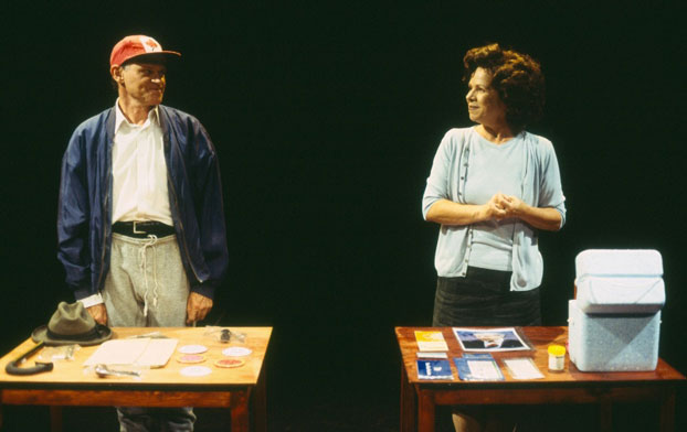 Drew Forsythe and Valerie Bader in STC's The Year of Living Comfortably (The Wharf Revue), 2002.  Photo: Tracey Schramm ©