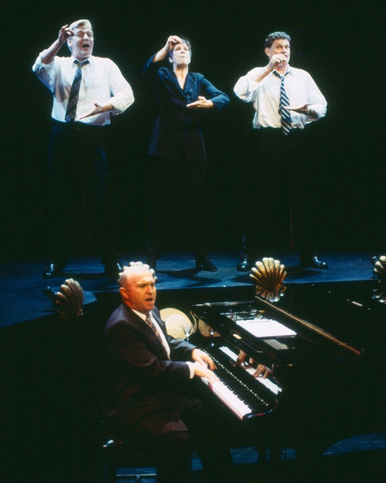 Tony Sheldon, Phillip Scott, Valerie Bader and Drew Forsythe in STC's The Year of Living Comfortably (The Wharf Revue), 2002.  Photo: Tracey Schramm ©