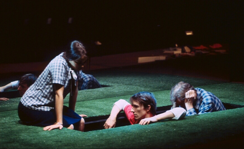 Bojana Novakovic, Matthew Whittet and John Gregg in STC's These People, 2003, for the STC Education Programme and Wharf 2 Blueprints.  Photo: Heidrun Löhr ©