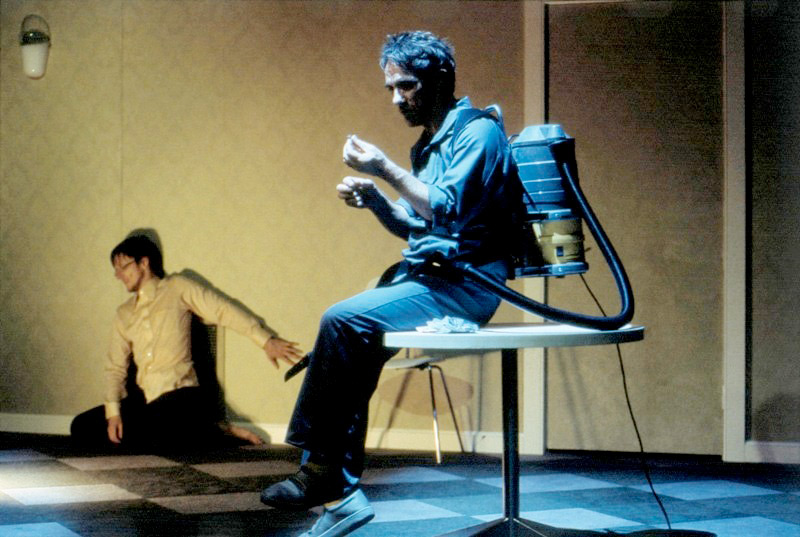 Matthew Whittet and Kim Gyngell in The Metamorphosis, 2005, for Wharf2Blueprints, co-produced by STC and Malthouse.  Photo: Heidrun Lohr ©
