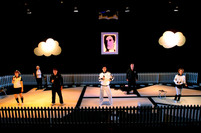 Robyn McLeavy, Betty Lucas, Tim Richards, Toby Schmitz, Russell Kiefel and Heather Mitchell in STC's Self Esteem, 2007, for Wharf 2LOUD.  Photo: Jimmy Pozarik ©