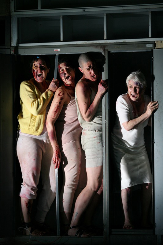 Natalie Gamsu, Queenie van de Zandt, Jenny Vuletic and Robyn Nevin in STC's The Women of Troy, 2008.  Photo: Tracey Schramm ©