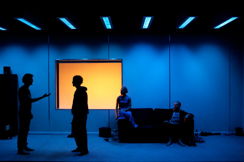 Luke Mullins, David Lee Smyth, Renee McIntosh and Brian Lipson in The Duel, 2009, co-produced by STC and ThinIce.  Photo: Tracey Schramm ©