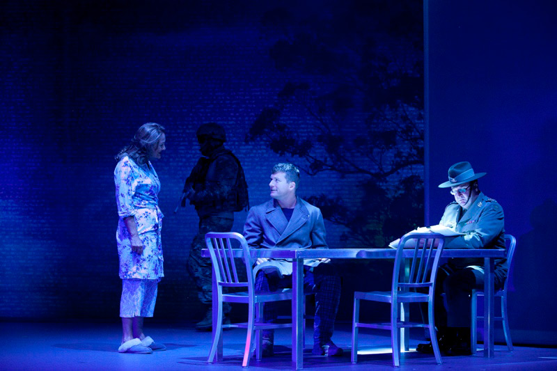 Odile Le Clezio, Tim Loch and David Cantley in The Long Way Home, 2014, co-produced by Sydney Theatre Company and the Australian Defence Force.  Photo: Lisa Tomasetti ©