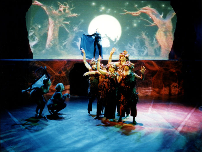 Tammy Clarkson, Justine Saunders, Deborah Mailman, Lafe Charlton, Warren Owens, and Tessa Leahy (rear) in STC's A Midsummer Night's Dream, 1997, produced in association with the Olympic Arts Festivals.  Photo:  Tracey Schramm ©