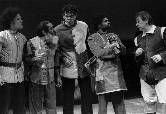 Kirk Page, Warren Owens, Lafe Charlton, John Blair and Kevin Smith in STC's A Midsummer Night's Dream, 1997, produced in association with the Olympic Arts Festivals. Photo: Tracey Schramm ©