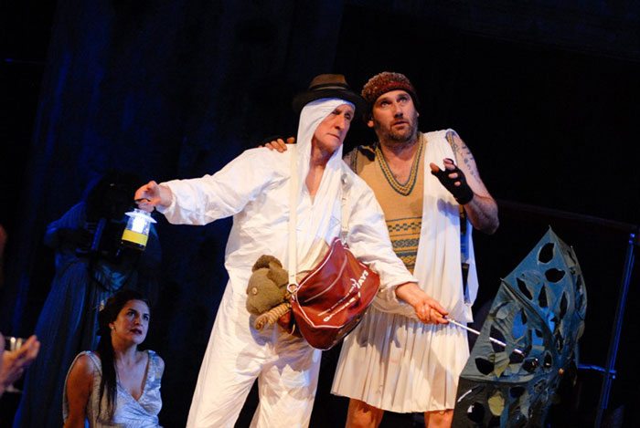 Pamela Rabe, John Gaden and Colin Moody in Sydney Theatre Company's A Midsummer Night's Dream, 2007.  Photo: Heidrun Lohr