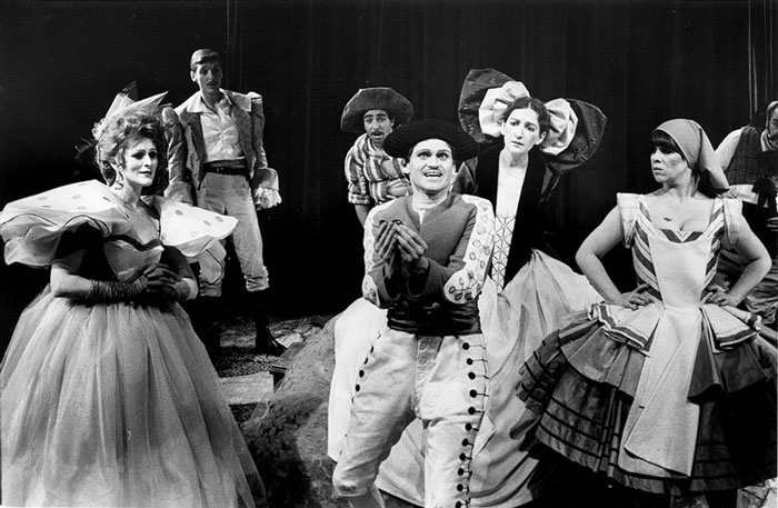 The cast of Nimrod's The Venetian Twins, with Drew Forsythe, presented by STC in the Interim World Play Season of shows produced by John Clark as Artistic Adviser, 1979.  Photo:  Branco Gaica