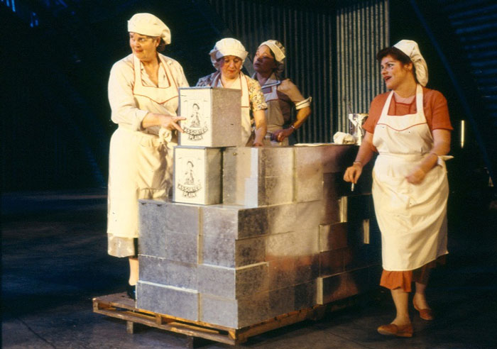The cast of Dinkum Assorted, 1988, commissioned  by STC, co-produced by STC and MTC.  Photo:  Branco Gaica