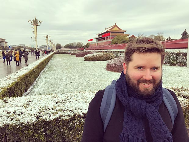 Kip Williams in front of The Forbidden City