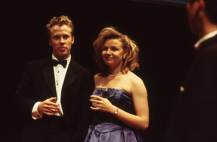 Travis McMahon and Justine Clarke in STC's A Man with Five Children, 2002 (Photo:  Heidrun Löhr)