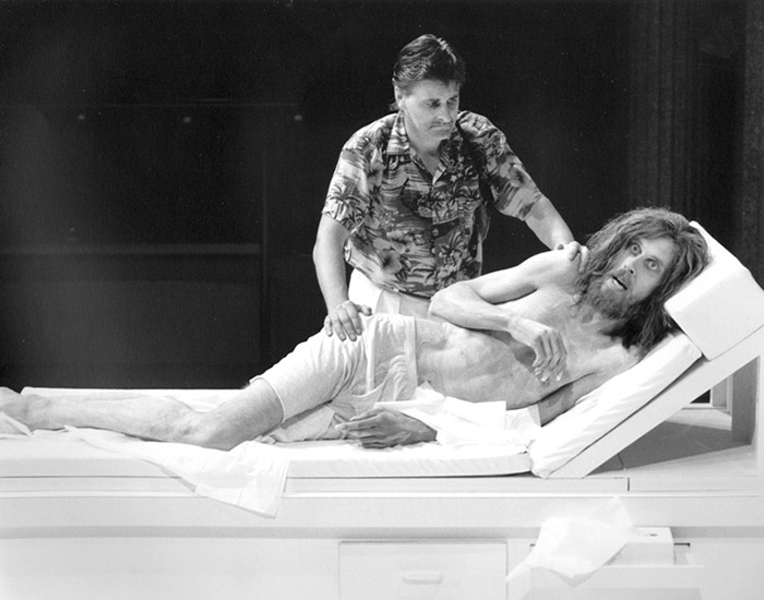 Robert Grubb and Bruce Spence in STC's Seduced, 1986 (Photo: Hugh Hamilton)