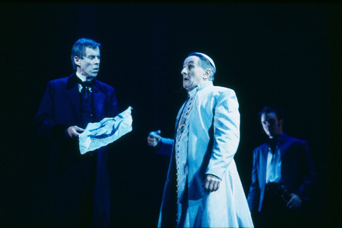 Bruce Spence, John Gaden and Matthew Newton in The White Devil, produced by STC and the Sydney 2000 Olympics Arts Festival, 2000 (Photo: Robert McFarlane)