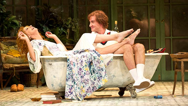 Heather Mitchell and Josh McConville in Hay Fever at STC. Photo: Lisa Tomasetti